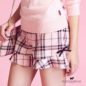 拼接荷葉褲口格紋短褲 Scottish House【AC2202】