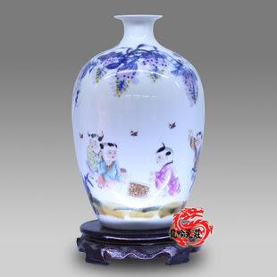 景德鎮陶瓷器花瓶青花窯變人物