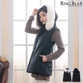 鋪棉背心--可愛逗趣暖感可拆式毛球連帽雙隱形口袋毛圈領鋪棉背心(黑.紫XL-5L)-J312眼圈熊中大尺碼