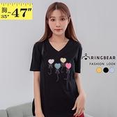 T恤--時尚多彩愛心氣球植絨燙鑽裝飾V領短袖棉T(黑.藍.黃M-3L)-T435眼圈熊中大尺碼
