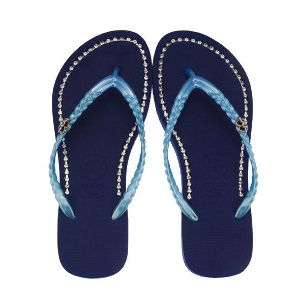 QWQ創意鞋- 璀璨面鑽 施華洛世奇水鑽夾腳人字拖鞋-寶石藍 (璀璨晶鑽系列 )