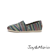 【Joy&Mario】經典條紋平底休閒鞋 - 61670W BLACK
