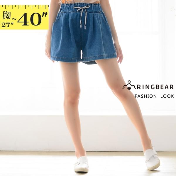 短褲裙--日常可愛甜美繫帶鬆緊褲頭兩側斜插口袋牛仔褲裙(藍M-5L)-R245眼圈熊中大尺碼