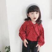 年終盛宴❤全館85折2018秋裝新款女童長袖波點襯衫韓版兒童小童上衣寶寶洋氣娃娃衫潮