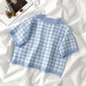 格子短袖t恤polo衫韓版寬鬆高腰小眾設計感針織短款上衣女夏潮