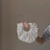 小眾設計褶皺云朵小包包休閒軟皮手提包女2020春夏新款圓形斜背包 小明同學