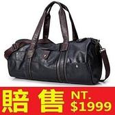 旅行袋-肩背休閒時尚做舊皮革圓筒男手提包66b1[巴黎精品]