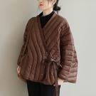 90%白鴨絨保暖輕薄羽絨服 純色斜襟綁帶長袖外套/3色-夢想家-0115