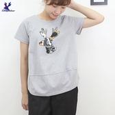 【秋冬新品】American Bluedeer - 鹿頭刺繡棉T 二色