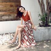 VK旗艦店 韓系度假風幾何圖一片式半裙套裝無袖裙裝
