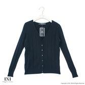 【INI】實穿日常、坑條織紋素色針織外套.黑色
