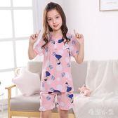 夏季兒童棉綢睡衣短袖中大童薄款綿綢女童家居服兩件式套裝 CJ4309『毛菇小象』