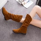 中筒靴女 秋冬季新款英倫低粗跟長靴高筒瘦瘦女靴子厚平底中長筒騎士靴