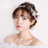 韓式新娘頭飾2018新款手工發箍發帶花朵超仙女發飾影樓婚禮配飾品   初見居家