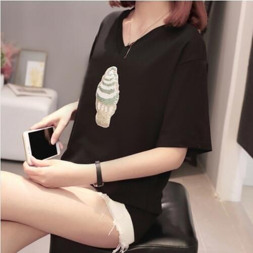 上衣V領休閒基本款中大尺碼XL-4XL新款打底衫短袖t卹加肥大碼女裝潮5F044-934.胖丫
