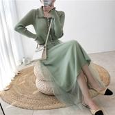 針織毛衣裙 連體毛衣 洋裝 中長款修身拼接網紗打底連身裙 超值價