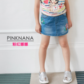 PINKNANA童裝 大童花朵繡花牛仔褲裙短裙38171