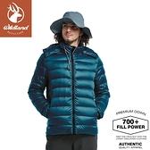 【Wildland 荒野 男 700FP 可回溯羽絨外套《經典藍》】0A82102/輕羽絨外套/保暖外套/連帽外套