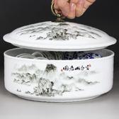 青花瓷陶瓷茶洗帶蓋大號水洗功夫茶具零配件杯洗 廢水缸【萬聖節全館大搶購】