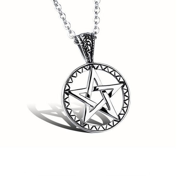【5折超值價】 最新款時尚歐美風格五角星造型男款鈦鋼項鍊