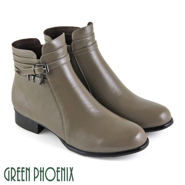 (卡其66、67、68) 女款垂墜壓克力方鑽繞踝全真皮低粗跟短靴【GREEN PHOENIX】U15-20B35