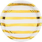 9吋金箔條紋圓盤8入-天使白