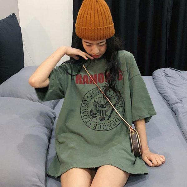 短袖t恤女夏古著感少女寬松上衣超火cec【聚寶屋】