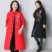 新款民族風女冬裝復古刺繡長款盤扣中國風棉服繡花棉衣服外套『爆米花』