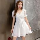 [促銷全場八五折]夏裝年新款氣質法式少女方領喇叭袖收腰顯瘦白色短袖連衣裙女