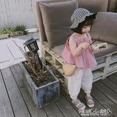 女童上衣 柒號童倉女童吊帶襯衣韓版女童純色上衣吊帶衫潮 傾城小鋪