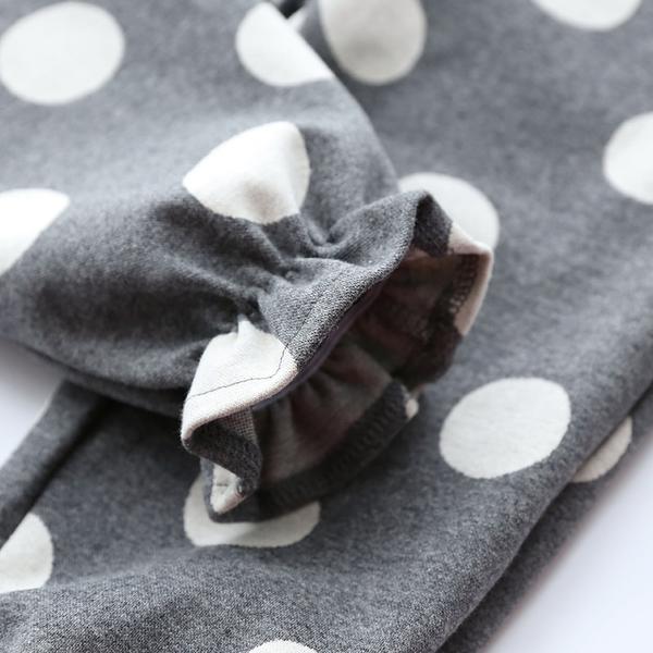 女Baby女童長褲灰色純棉白點休閒長褲現貨 歐美品質