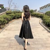 港味復古chic中長款禮服裙小黑裙V領高腰綁帶露背吊帶洋裝 k-shoes