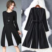 娃娃洋裝OL气质長袖小黑裙通勤撞色连身裙A字裙束腰LS7082205