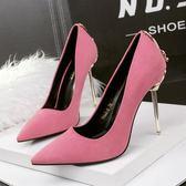 韓版時尚絨面尖頭高跟鞋性感黑色淺口細跟女單鞋秋季新款紅色婚鞋  米蘭 shoe