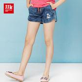 JJLKIDS 女童 抓皺刷白刺繡椰子樹牛仔短褲(牛仔藍)