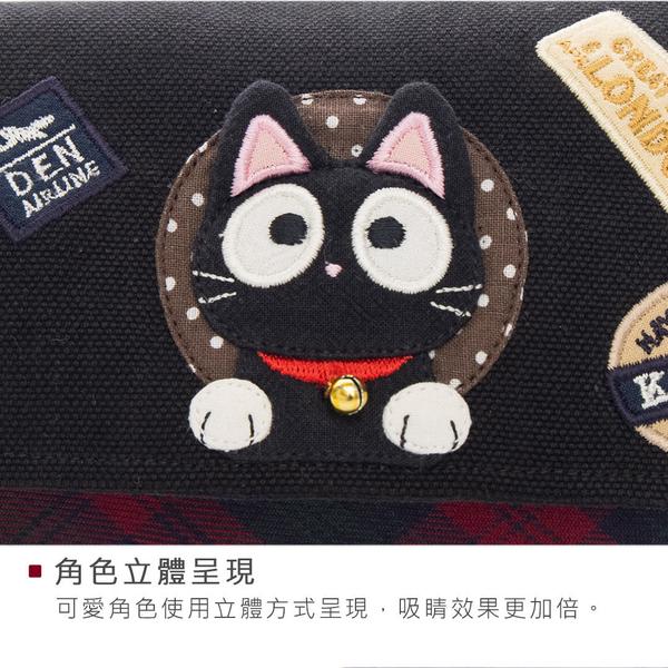 小黑貓 雙層 拉鍊 拼布 錢包/鈔票/收納/長夾【820234 】