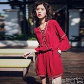 波西米亞洋裝 紅色沙灘裙褲海邊度假夏女波西米亞連體闊腿褲泰國連衣褲高腰 寶貝計畫
