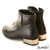 amai側鏤空V口鏡面夾心跟短靴 黑