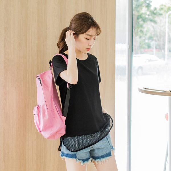 OB嚴選《AB2945-》下襬拼接透視網布純色反折連袖上衣.2色--適 S~L