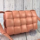 BRAND楓月 Bottega Veneta BV 橘粉 經典大編織紋 PADDED CASSETTE 枕頭包 肩背包
