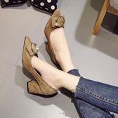 尖頭單鞋高跟鞋 韓版金屬珍珠粗跟鞋子【多多鞋包店】z5503
