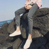 彈力九分牛仔褲男士夏季薄款黑色休閒9分小腳褲子男韓版潮流修身 韓流時裳