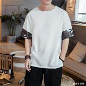 中大碼棉麻上衣中國風唐裝大碼短袖T恤個性寬鬆時尚男裝 QX2805 『愛尚生活館』