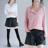 大尺碼 MM200斤秋冬新款 加肥加大碼女裝打底衫純棉長袖T恤 上衣修身V領