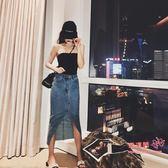 牛仔長裙 2019不規則開叉半身長裙韓版高腰a字牛仔裙高腰顯瘦女裙 XS-XL