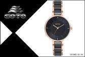 【時間道】[GOTO。錶]簡約三針時尚腕錶/黑面玫瑰金殼鋼+陶瓷(GS1040L-43-341)免運費