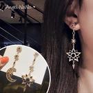 銀針耳環《可改耳夾式》復古星月水鑽長款不對稱防過敏S925銀針耳針 (SRA0142) AngelNaNa