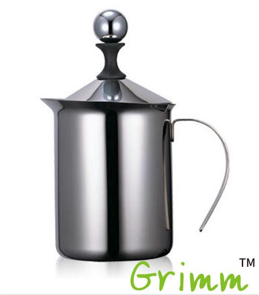 不鏽鋼手動奶泡器 400ml咖啡奶泡杯