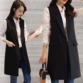 顯瘦西裝單釦長版背心 中大尺碼民族風女裝