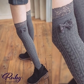 襪子 愛心蕾絲蝴蝶結中筒膝上大腿襪-Ruby s 露比午茶